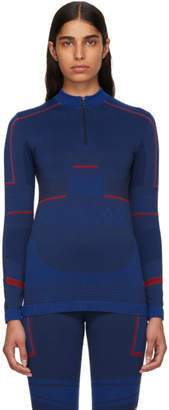 adidas by Stella McCartney Blue Seamless Zip-Up Sweater