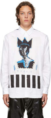 Comme des Garcons White Basquiat Edition Herringbone Shirt