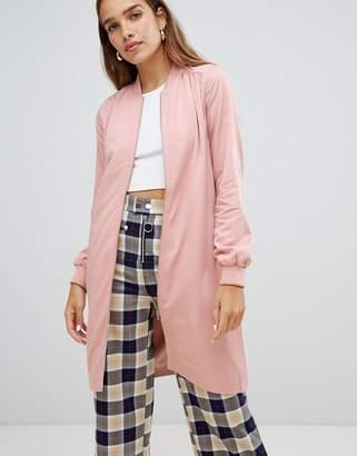 Monki longline bomber jacket