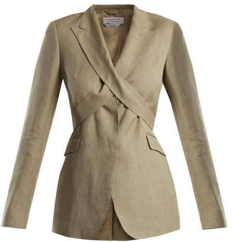 GABRIELA HEARST Nutter tie-waist linen-blend blazer