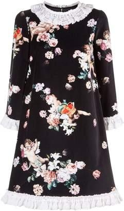 Dolce & Gabbana Velvet Printed Crochet Trim Dress