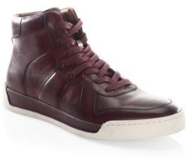 John Varvatos Remy Court Leather Mid-Top Sneakers $248 thestylecure.com