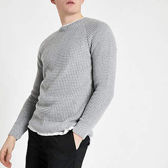 River Island Grey slim fit stitch long sleeve jumper