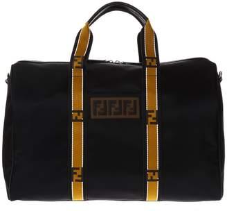 Fendi Black Nylon Duffle Bag With Logo