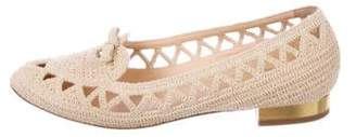Charlotte Olympia Woven Round-Toe Loafers