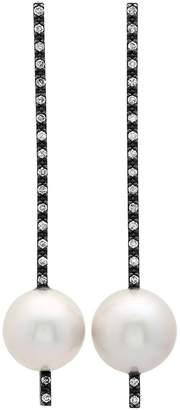 Nancy Newberg Oxidized Silver, Pearl and Diamond Stick Earrings