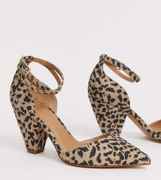 5854b1eb06 Asos Design DESIGN Speakeasy pointed mid heels in leopard print