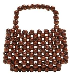 MANGO Beaded wood handbag