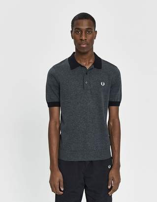 Fred Perry Contrast Trim Knitted Polo Shirt in Black Twist
