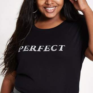 River Island Womens Plus black 'perfect' longline T-shirt