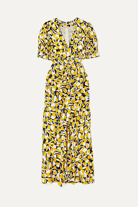 Rixo Ariel Ruffled Floral-print Cotton And Silk-blend Dress - Yellow