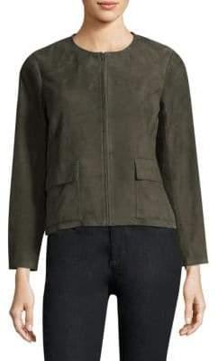Eileen Fisher Roundneck Suede Jacket