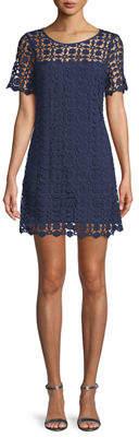 Laundry by Shelli Segal Venise Crochet Illusion Shift Dress