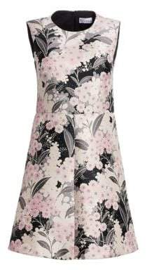 RED Valentino Floral Monochrome Jacquard A-Line Dress