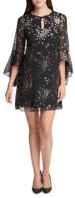 Kensie Dresses Foil Floral Flare-Sleeve Dress