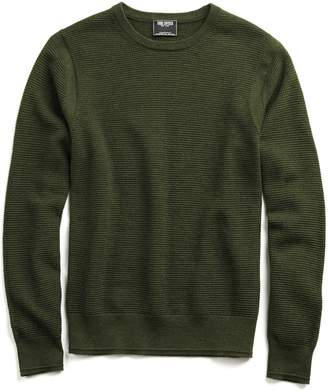 Todd Snyder Italian Merino Waffle Crew in Olive