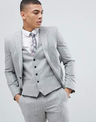 Next Skinny Suit Jacket In Grey Stripe
