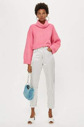 Topshop Sateen Striped Mom Jeans