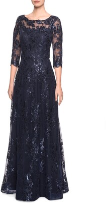 La Femme Shimmer Sequin Lace Evening Dress