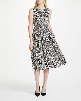 Oui Leo Linen Dress, Off White/Grey