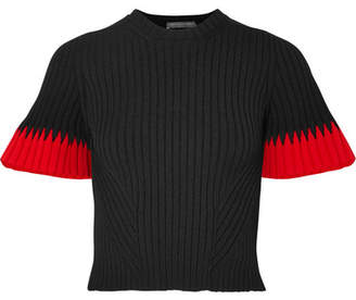 Alexander McQueen Two-tone Ribbed-knit Sweater - Black