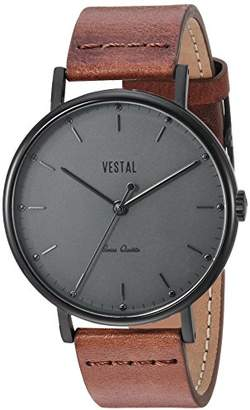 Vestal ' Sophisticate Leather' Swiss Quartz Stainless Steel Dress Watch