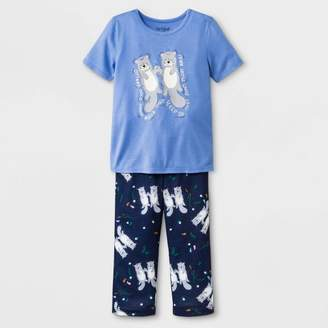 Cat & Jack Toddler Girls' Otter Jersey with Printed Bottom Pajama Set Easygoing Blue