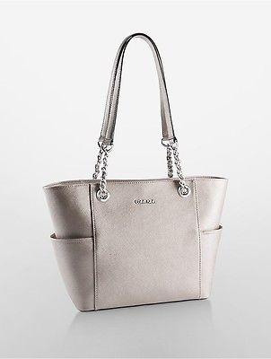 Calvin KleinCalvin Klein Womens Saffiano Leather Chain-Trimmed Tote Bag Metallic Taupe