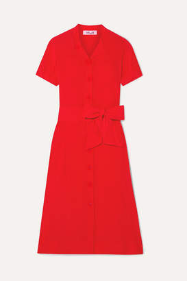 Diane von Furstenberg Addilyn Silk Crepe De Chine Midi Dress - Red