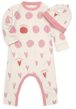 Burberry Baby Girl's Hearts & Dots Footie & Hat Set