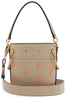Chloé Roy Little Horse Embroidered Leather Bucket Bag - Womens - Grey Multi