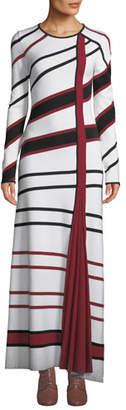 Gabriela Hearst Ruben Long-Sleeve Asymmetric-Stripe Wool-Blend Maxi Dress
