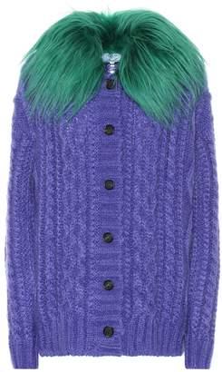 Prada Fur-trimmed mohair-blend cardigan