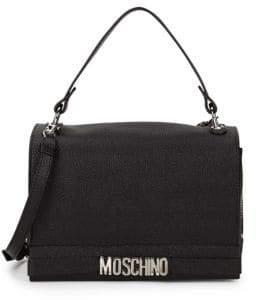 Moschino Nichel Galavan Pebbled Leather Messenger Bag
