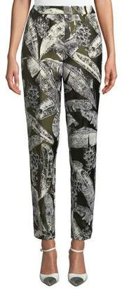 Oscar de la Renta Palm-Print Skinny-Leg Pants