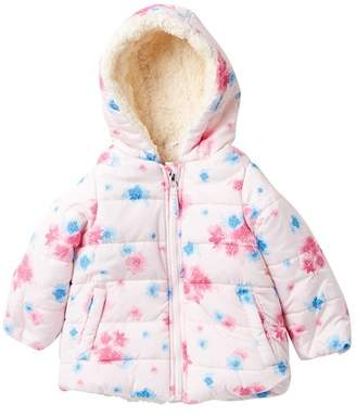 Jessica Simpson Satin Floral Printed Puffer Jacket (Baby Girls)