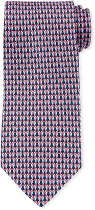 Salvatore Ferragamo Gemma Kissing Birds Silk Tie, Blue