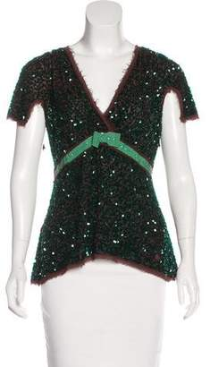 Chloé Sequin Bow-Accented Top