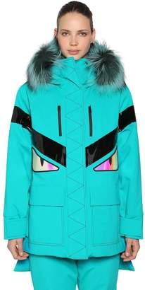 Fendi Monster Hooded Padded Ski Coat W/ Fur