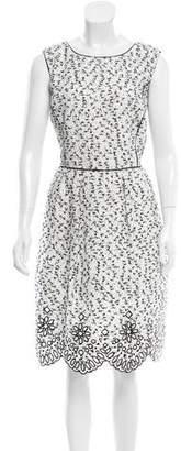 Oscar de la Renta Textured Eyelet-Trimmed Dress