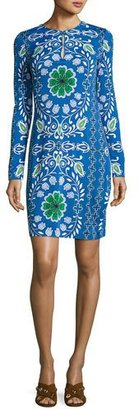 Tory Burch Walker Long-Sleeve Printed Sheath Dress, Blue $395 thestylecure.com