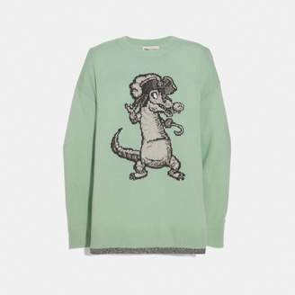 Coach Disney X Crocodile Oversized Intarsia Sweater