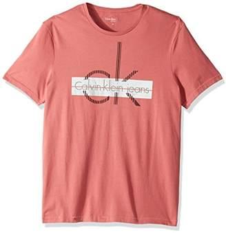 Calvin Klein Jeans Men's Short Sleeve Linear Cut Logo Crew Neck T-Shirt