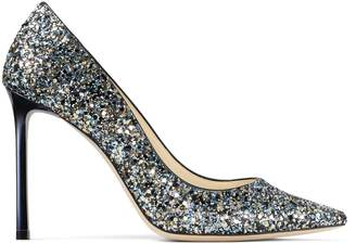 Jimmy Choo ROMY 100 Electric Blue Mix Party Coarse Glitter Fabric Pointed Toe Pumps