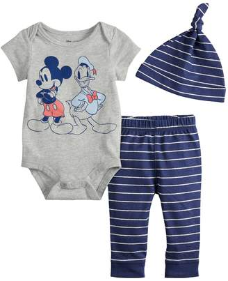 Disneyjumping Beans Disney's Mickey Mouse & Donald Duck Baby Boy Graphic Bodysuit, Striped Pants & Hat Set by Jumping Beans