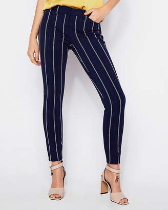 Express Mid Rise Ticking Stripe Skinny Pant