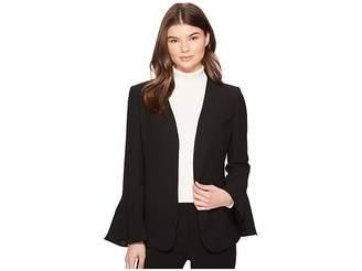 Catherine Malandrino Bell Sleeve Curved Neck Blazer Women's Jacket