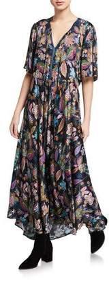Johnny Was Floral V-Neck Flutter-Sleeve Maxi Dress