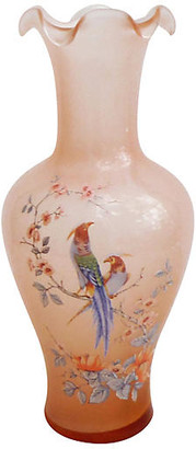 One Kings Lane Vintage Pink Glass Birds Vase - majolicadream