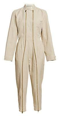 Stella McCartney Women's Compact Cotton Zipper Front Jumpsuit